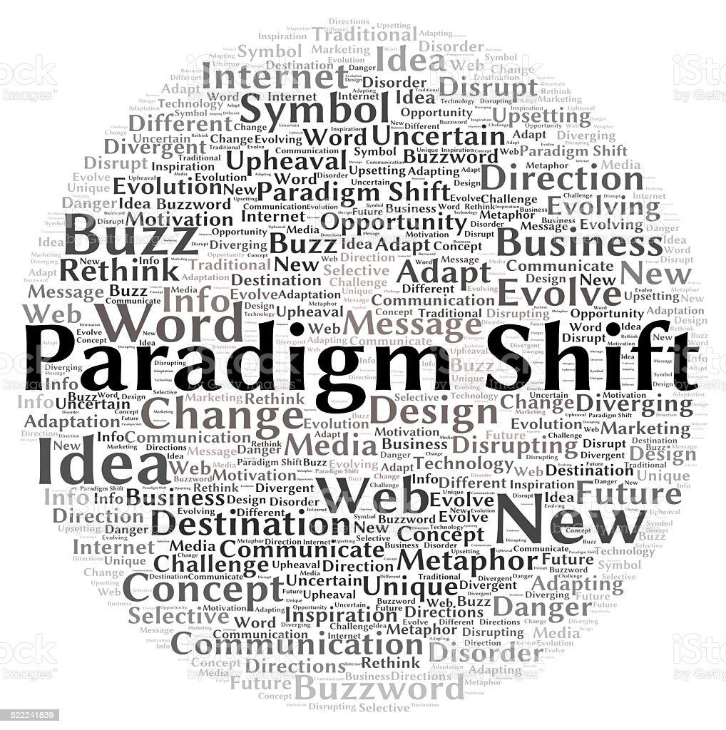 Paradigm shift word cloud shape stock photo