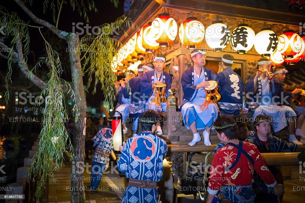 Parading along with Onogawa river - Sawara Autumn Festival stock photo