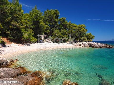 View of a beautiful beach, Murvica, Bol, Brac island, Dalmatia, Croatia. Famous summer resort.