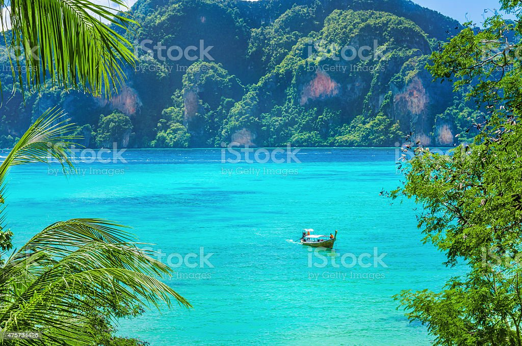 Paradise bay on Phi Island, Thailand stock photo