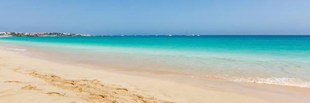Paradise beach and ocean, panorama stock photo