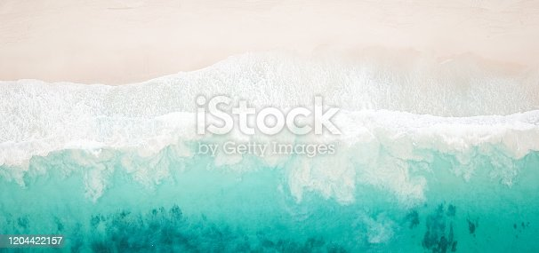 Paradise Beach and Waves from above drone shot aerial view
