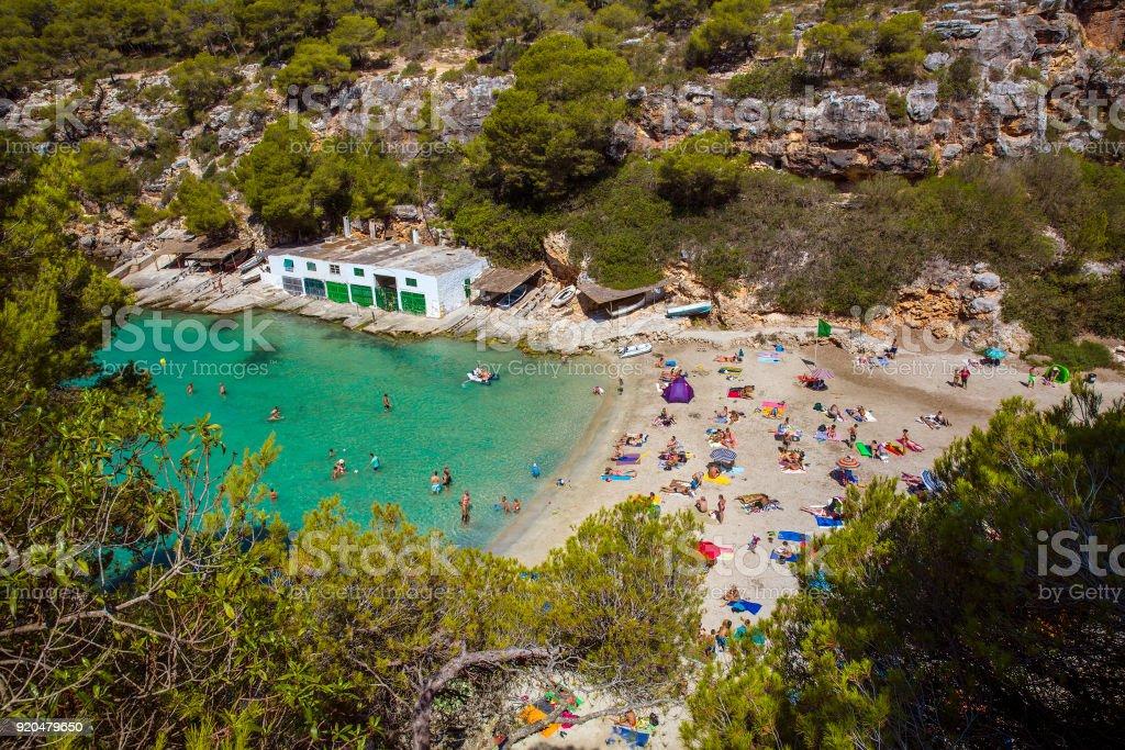 Paradise Beach at Cala Pi, Mallorca stock photo