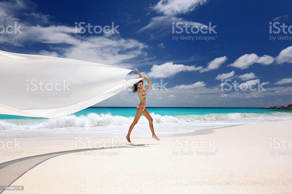 Paradise Beach, Beautiful Woman Dancing (XXXL) stock photo