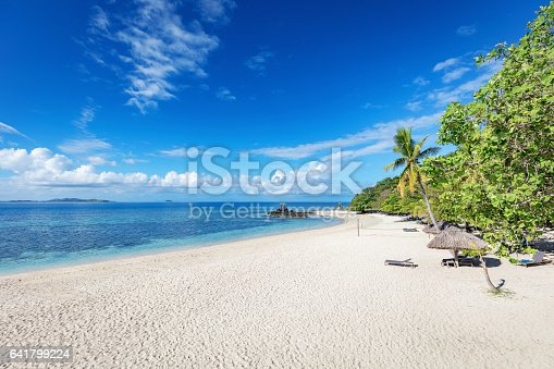 Beautiful beach with palm trees lounge chairs, beach volleyball net and beach huts on Castaway Island under blue summer sky. Mamanuca Islands, Fiji, Melanesia, South Pacific Ocean.