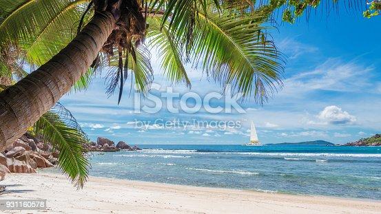istock Paradise beach. Fashion travel and tropical beach concept. 931160578