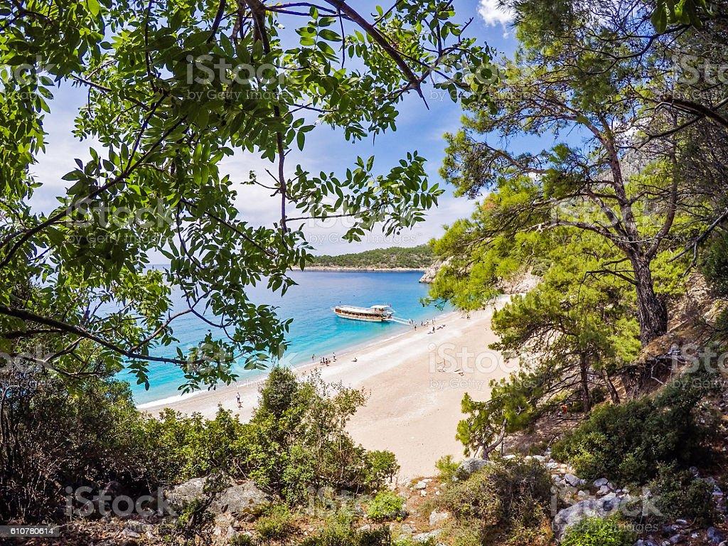 Paradise beach from Oludeniz.- (action camera) stock photo