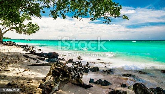 View on paradise beach of Playa blanca by Baru in Colombia