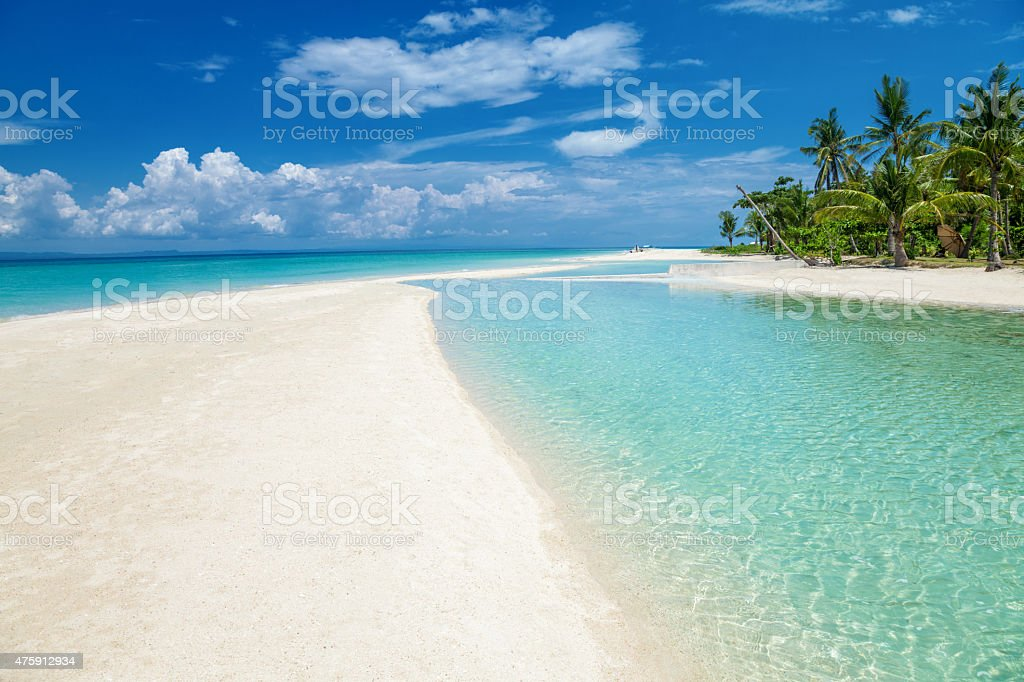 Paradise beach on an island in Philippines stock photo