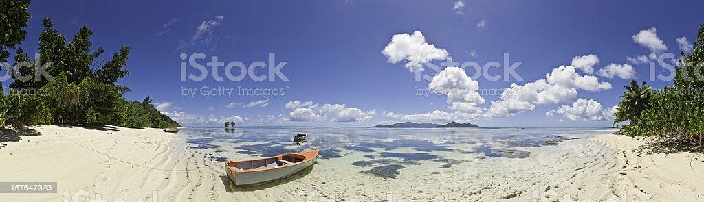 Paradise beach panorama tropical island shore turquoise ocean Seychelles Africa royalty-free stock photo