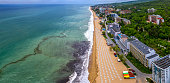 Paradise beach from an aerial drone perspective, Golden Sands, Bulgaria