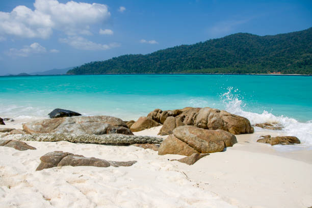 Paradise beach with white sand and blue sky for travel and vacation in holiday relax time stock photo