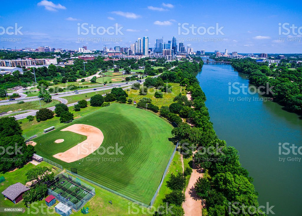 Paradise cityscape aerial baseball field capital cities stock photo