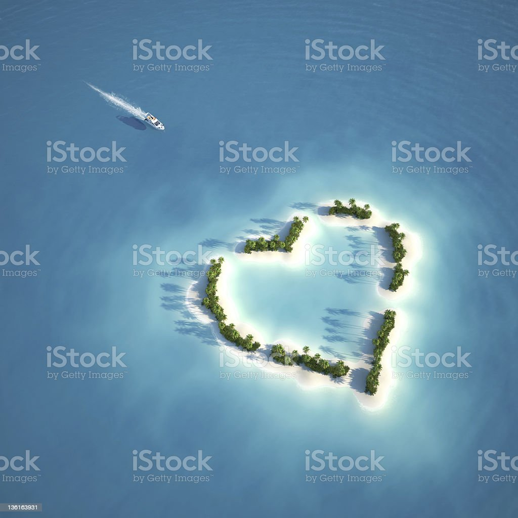 paradise heart shaped island stock photo