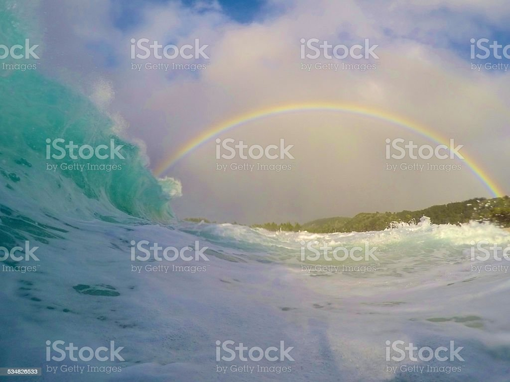 Paradise in a wave stock photo