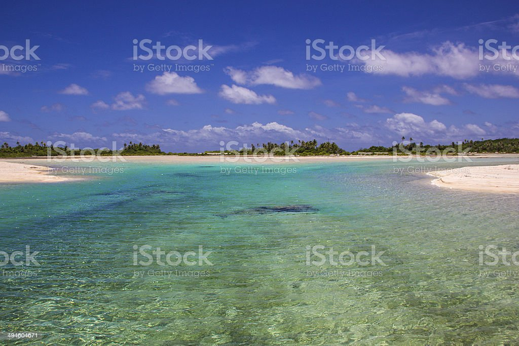Paradise in Tikehau, tahiti stock photo