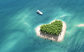 Top view of a boat anchors to a heartshaped island. This is a 3d render illustration