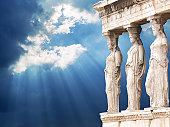 Famous Caryatid in Acropolis, Athens, Greece Iconic Landmark