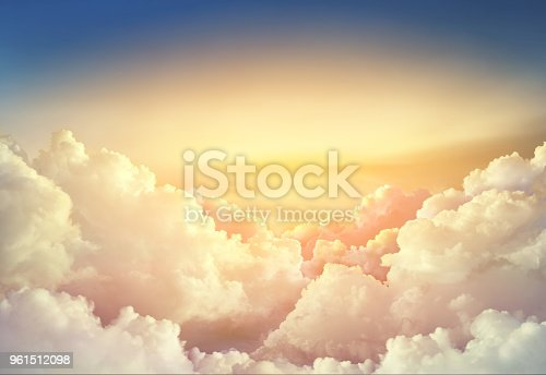 paradise sky background with large clouds