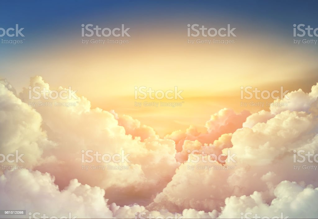 paradise sky background with large clouds stock photo
