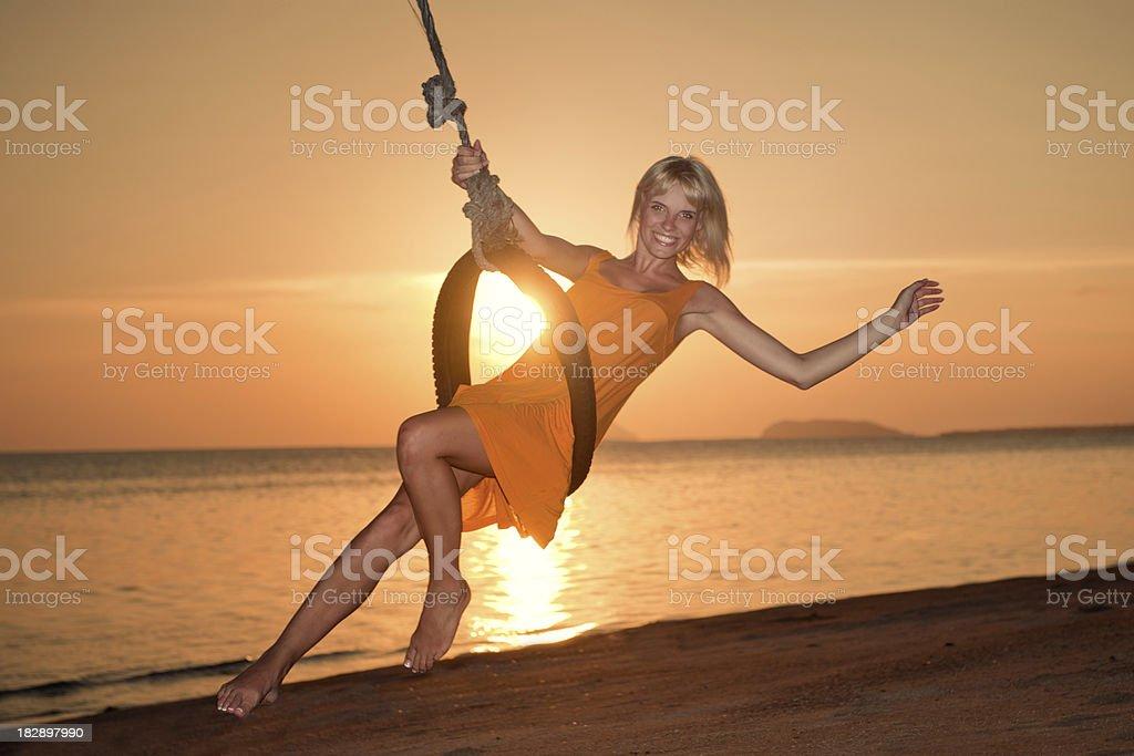 Paradise Swing at Sunset (XXXL) royalty-free stock photo