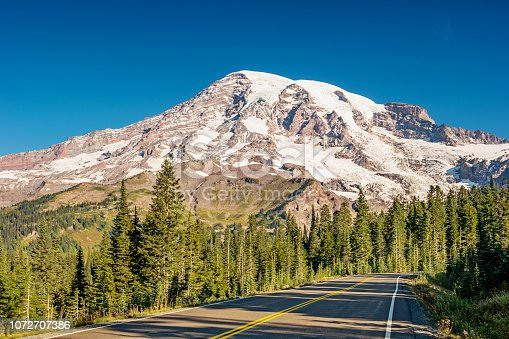 Stock photograph of Paradise Valley Road leading to Paradise in Mount Rainier National Park Washington, USA.