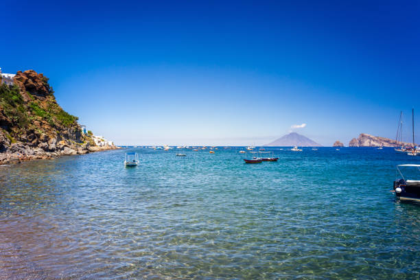 Paradise view from Panarea island in Mediterranean sea