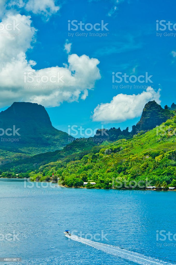 Paradise view of Moorea Islands, Cook's Bay, French Polynesia stock photo