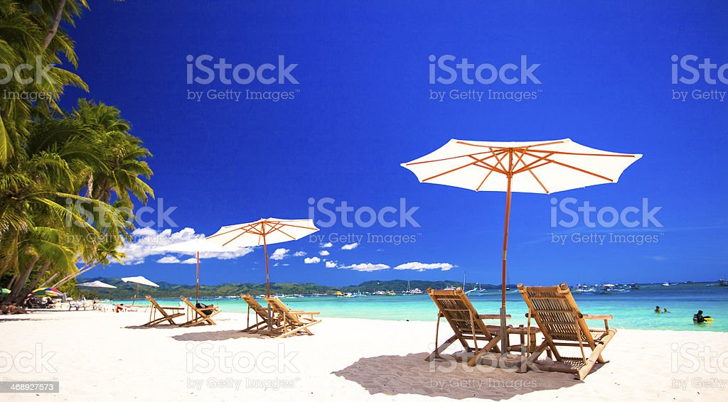 Paradise view of nice tropical empty sandy plage stock photo