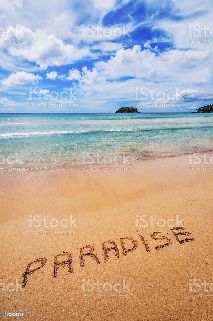 Paradise Written on the Sand stock photo