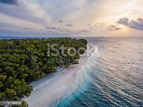 Paradisiac beach at sunset - Aerial point of view