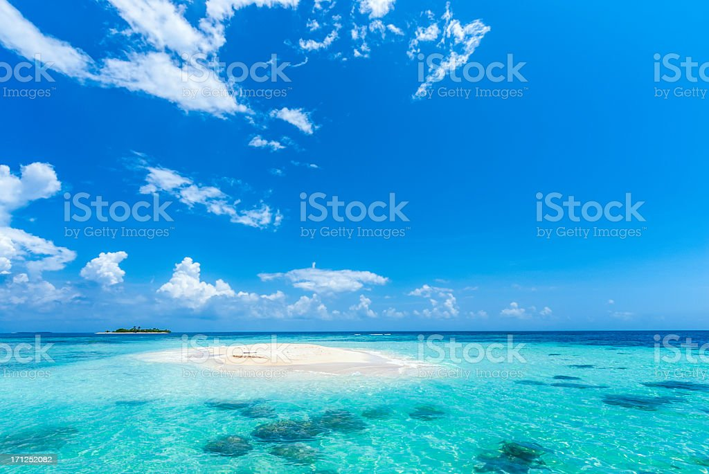 Paradisiac tropical white sand cay beach with turquoise water stock photo