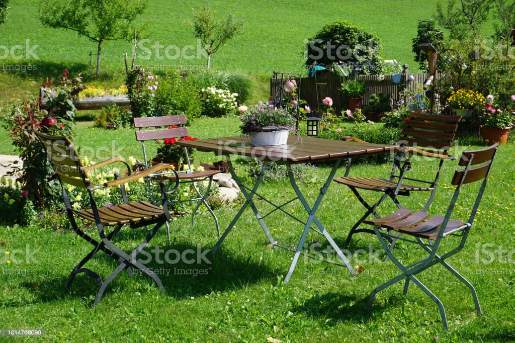 summer garden with beautiful flowers and green lawn