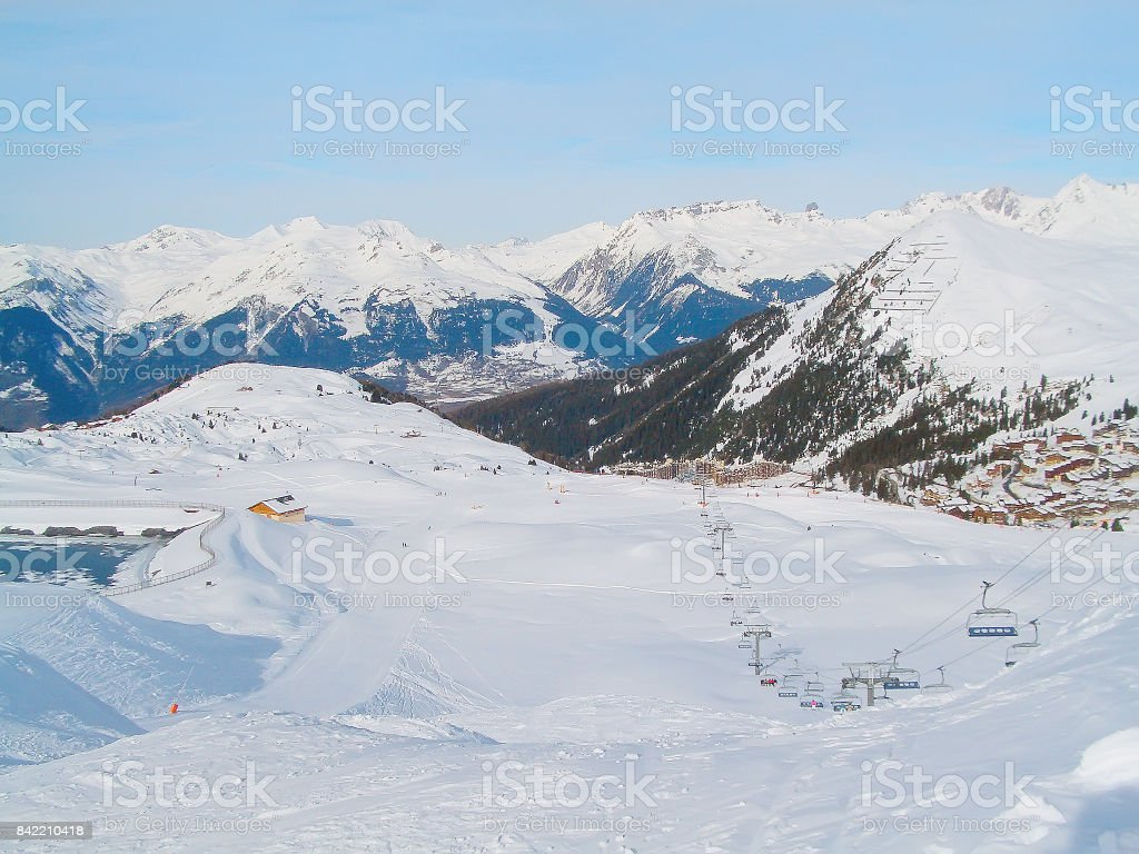 Paradiski winter ski resort, France town and slopes aerial view stock photo