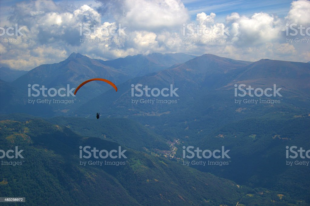 paraglide in the beautiful mountains stock photo
