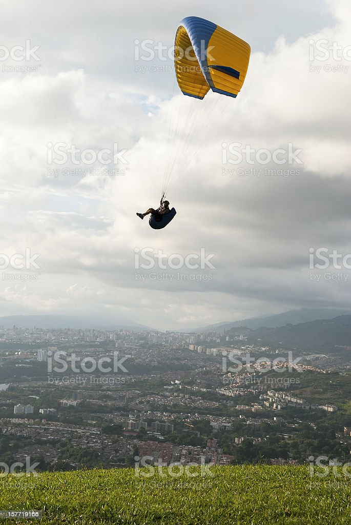 Paraglider above Colombian city of Bucaramanga stock photo