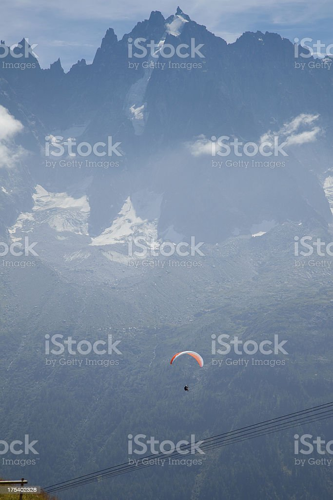 paraglider in flight over Chamonix France royalty-free stock photo
