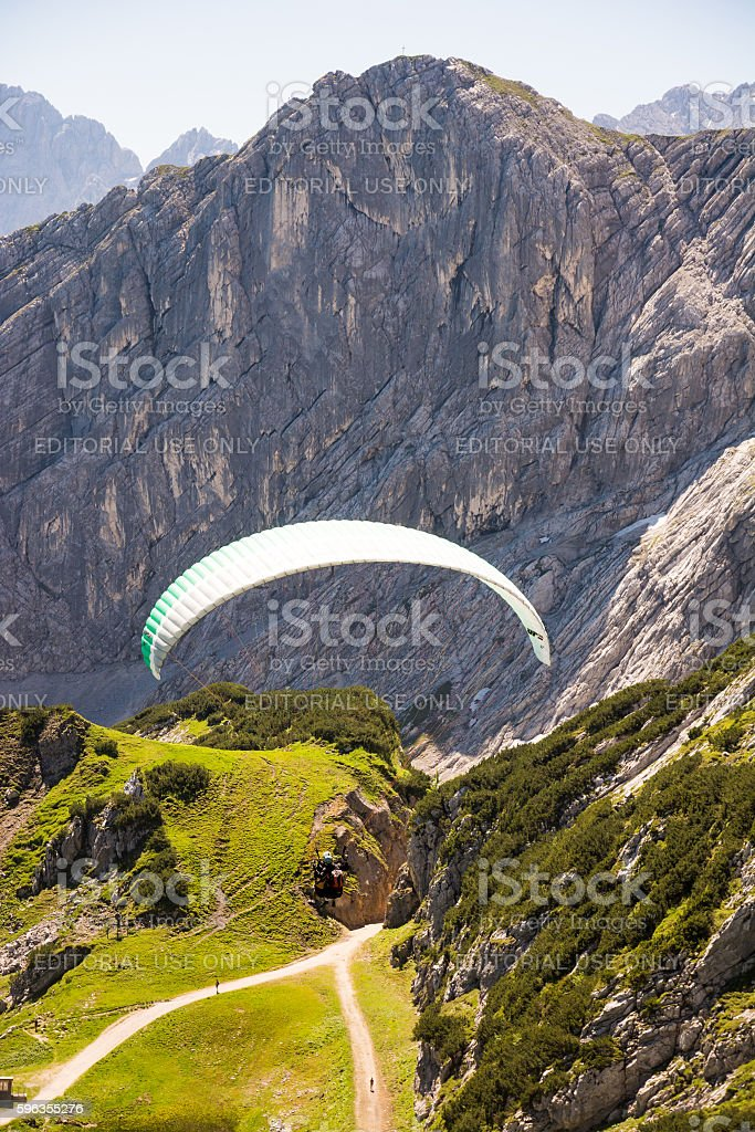 Paraglider in the alps of Bavaria royalty-free stock photo