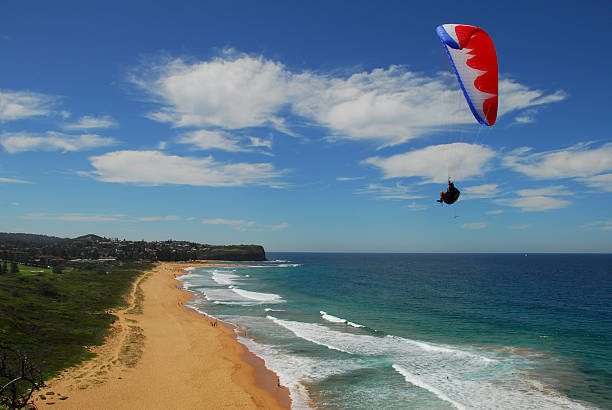 Paraglider over Beach stock photo
