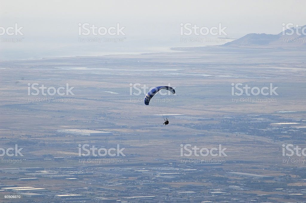 Paraglider over the city royalty-free stock photo