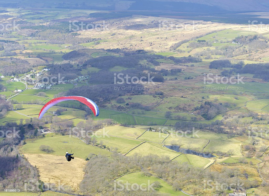 Paraglider Over The Lakes stock photo