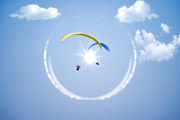 Paraglider Paragliding, Tandem, Sky, Adventure, Aircraft Wing paragliding stock pictures, royalty-free photos & images