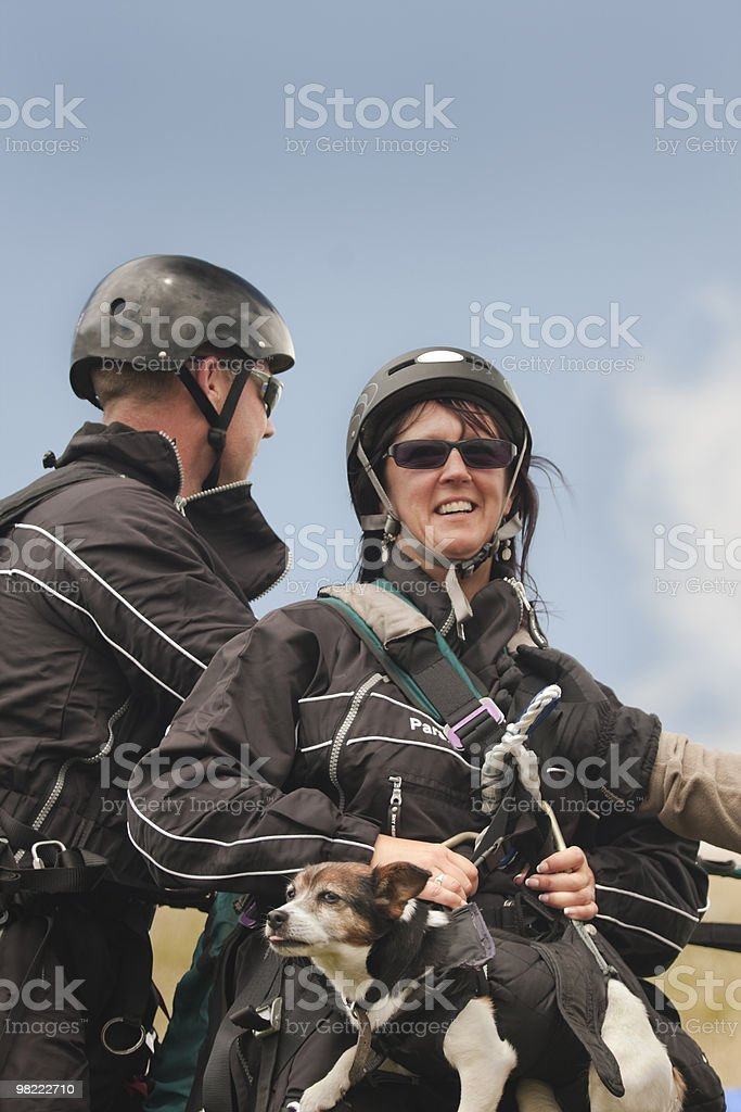 Paragliders preparing royalty-free stock photo