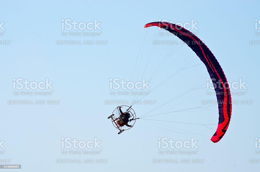 Paragliders show on Radom Airshow, Poland stock photo