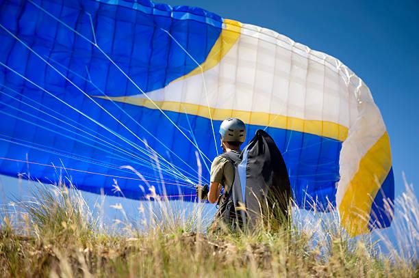 paraglider's start up stock photo
