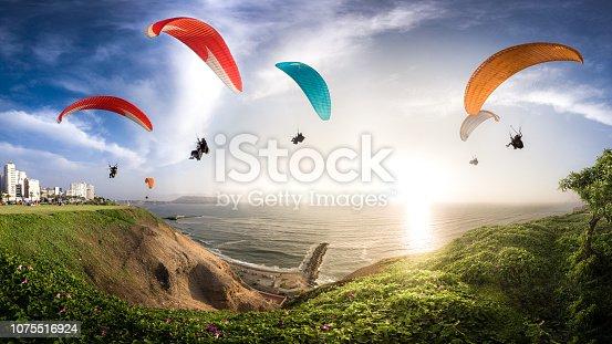LIMA, PERU: Paraglides in Miraflores town.