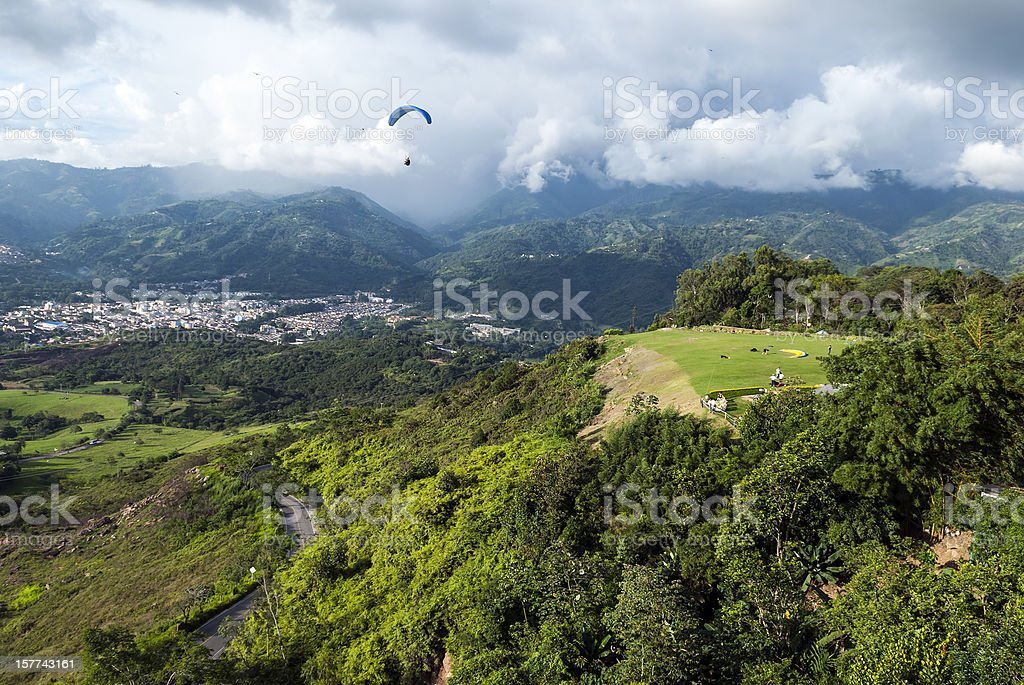Paragliding in Bucaramanga, Colombia stock photo