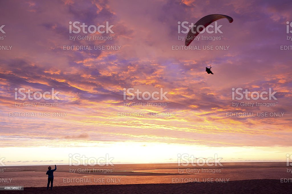 Paragliding at the Great Dune of Pyla royalty-free stock photo