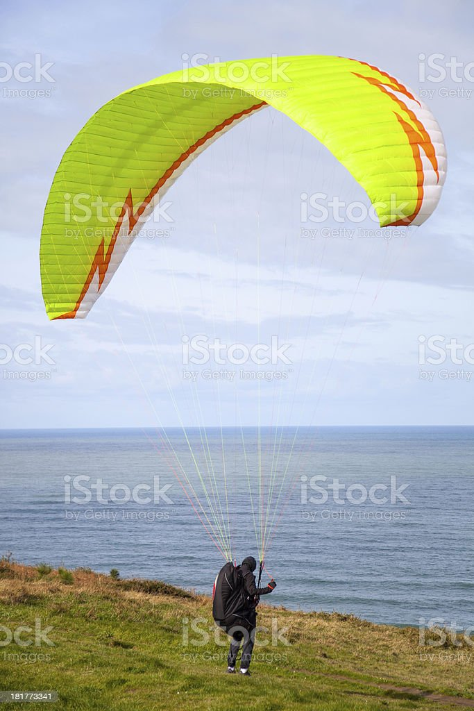 paragliding blast-off royalty-free stock photo