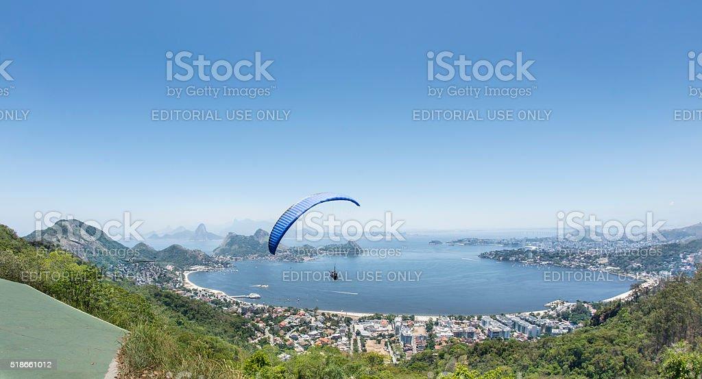 Paragliding in front of Rio de Janeiro stock photo
